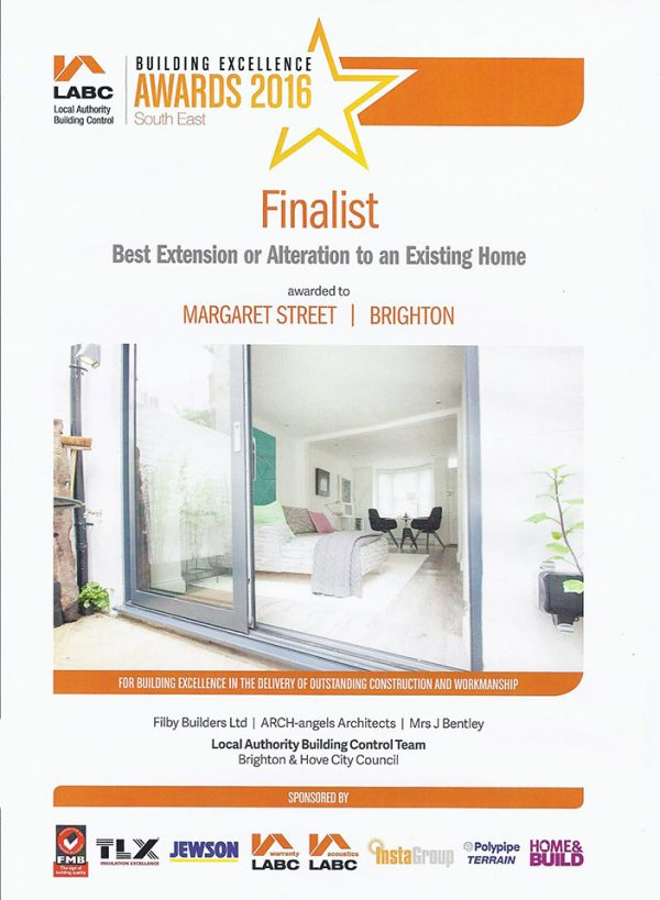 Filby Builders | LABC Finalist award for Margaret Street